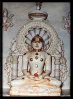 Picture of Shri Kalikund Parshwanath Bhagwan. The Moolnayak idol, in the basement, is one of the idols belonged to Shri Kalikund Parshwanath Bhagwan, which were